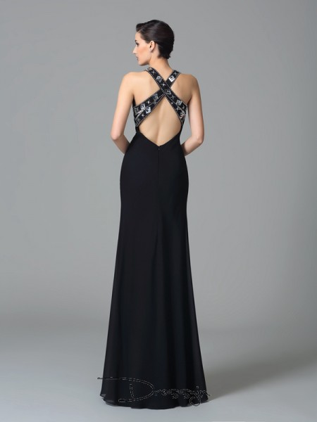 Sheath/Column Sleeveless Beading Floor-Length Chiffon Straps Dresses