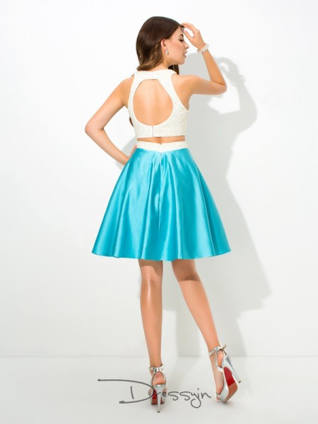 A-Line/Princess Sleeveless Beading Short/Mini Satin Jersey Dresses