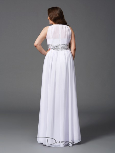 A-Line/Princess Sleeveless Beading Floor-Length Chiffon Jewel Plus Size Dresses