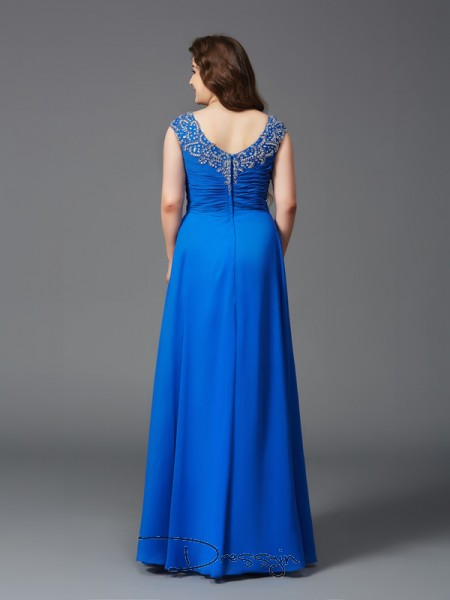 A-Line/Princess Short Sleeves Beading Floor-Length Chiffon Straps Plus Size Dresses
