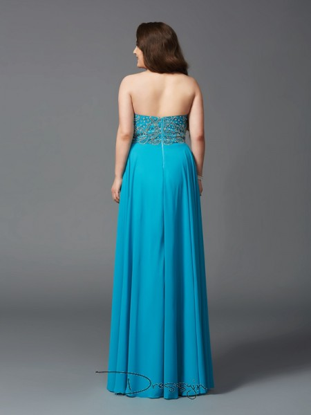 A-Line/Princess Sleeveless Beading Floor-Length Chiffon Sweetheart Plus Size Dresses
