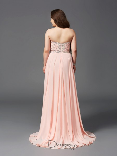 A-Line/Princess Sleeveless Beading Sweep/Brush Train Chiffon Sweetheart Plus Size Dresses