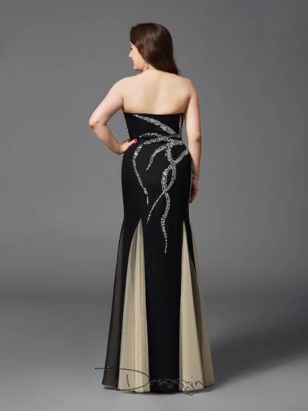 Sheath/Column Sleeveless Beading Floor-Length Chiffon Sweetheart Plus Size Dresses