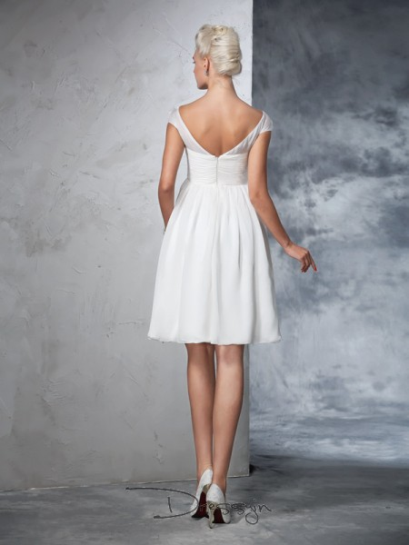 A-Line/Princess Short Sleeves Ruched Knee-Length Chiffon Sheer Neck Wedding Dresses