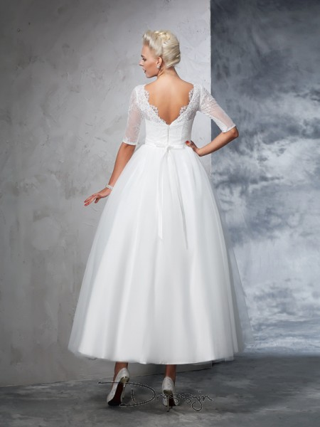 Ball Gown 1/2 Sleeves Lace Ankle-Length Net Bateau Wedding Dresses