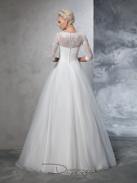 Ball Gown 3/4 Sleeves Applique Floor-Length Organza Jewel Wedding Dresses