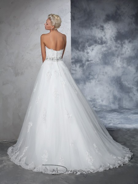 Ball Gown Sleeveless Applique Chapel Train Net Sweetheart Wedding Dresses