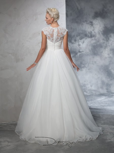 Ball Gown Sleeveless Ruched Sweep/Brush Train Tulle Sweetheart Wedding Dresses