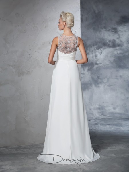 A-Line/Princess Sleeveless Ruched Sweep/Brush Train Chiffon V-neck Wedding Dresses