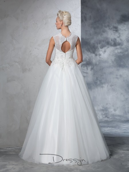 Ball Gown Sleeveless Applique Floor-Length Net High Neck Wedding Dresses