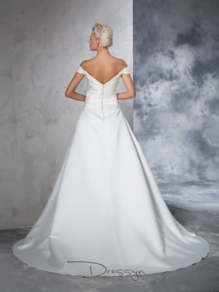 Ball Gown Sleeveless Ruched Chapel Train Taffeta Off-the-Shoulder Wedding Dresses