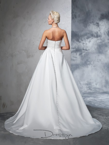 Ball Gown Sleeveless Ruched Chapel Train Satin Strapless Wedding Dresses