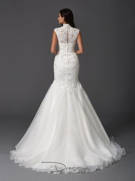 Trumpet/Mermaid Sleeveless Beading Sweep/Brush Train Organza High Neck Wedding Dresses