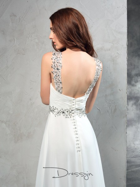 A-Line/Princess Sleeveless Pleats Sweep/Brush Train Chiffon Sweetheart Wedding Dresses