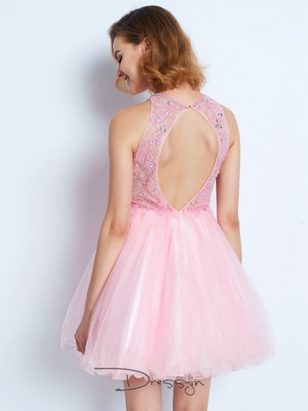 A-Line/Princess Sleeveless Net Ruffles Short/Mini Jewel Dresses