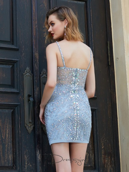 Sheath/Column Sleeveless Net Sequin Short/Mini Spaghetti Straps Dresses