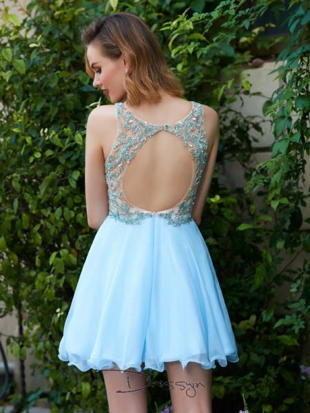 A-Line/Princess Sleeveless Chiffon Beading Short/Mini Scoop Dresses