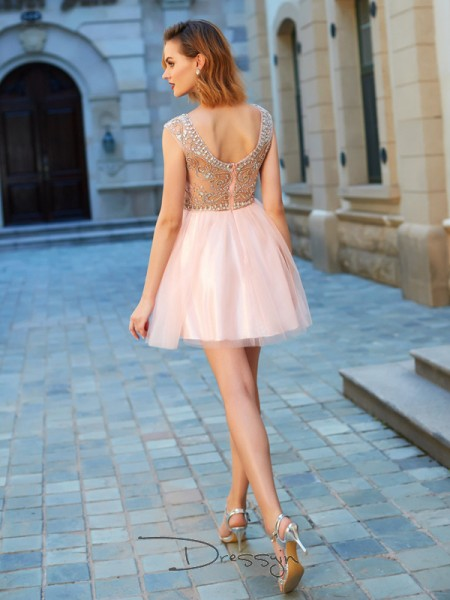 A-Line/Princess Short Sleeves Net Beading Short/Mini Scoop Dresses