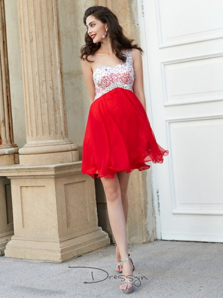A-Line/Princess Sleeveless Chiffon Beading Short/Mini One-Shoulder Dresses