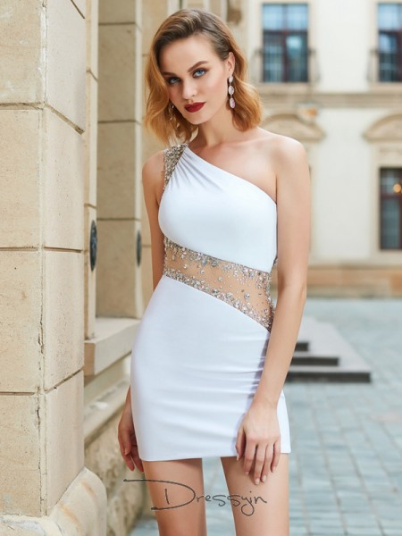 Sheath/Column Sleeveless Net Beading Short/Mini One-Shoulder Dresses