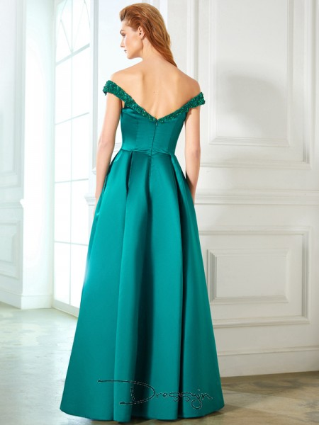 A-Line/Princess Floor-Length Satin Off-the-Shoulder Sequin Sleeveless Dress