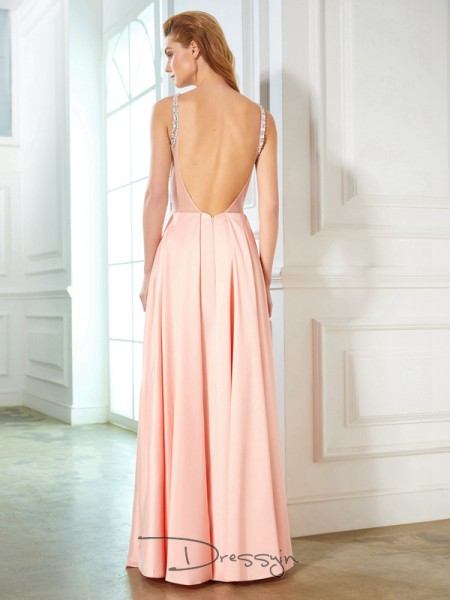 A-Line/Princess Floor-Length Satin Scoop Beading Sleeveless Dress