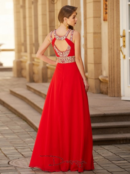 A-Line/Princess Floor-Length Chiffon Scoop Beading Sleeveless Dress