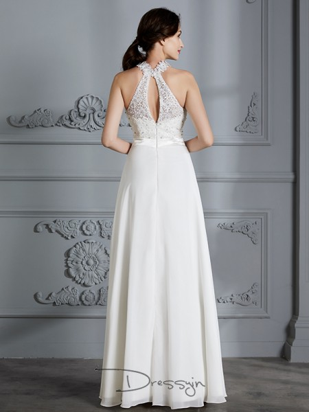 A-Line/Princess Scoop Chiffon Sleeveless Floor-Length Wedding Dress
