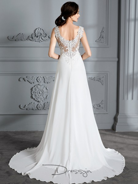 A-Line/Princess V-neck Chiffon Sleeveless Sweep/Brush Train Wedding Dress