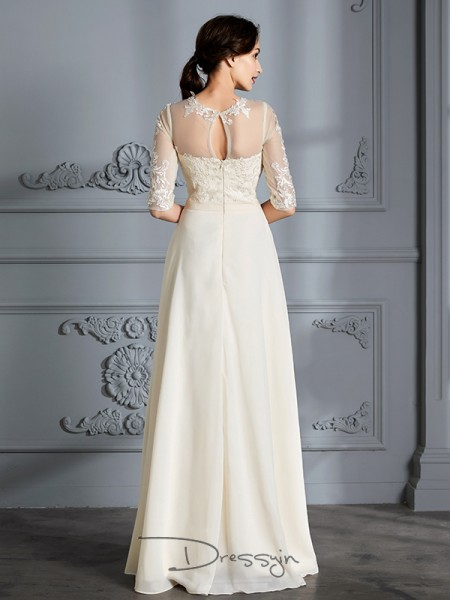 A-Line/Princess Scoop Chiffon 1/2 Sleeves Floor-Length Wedding Dress