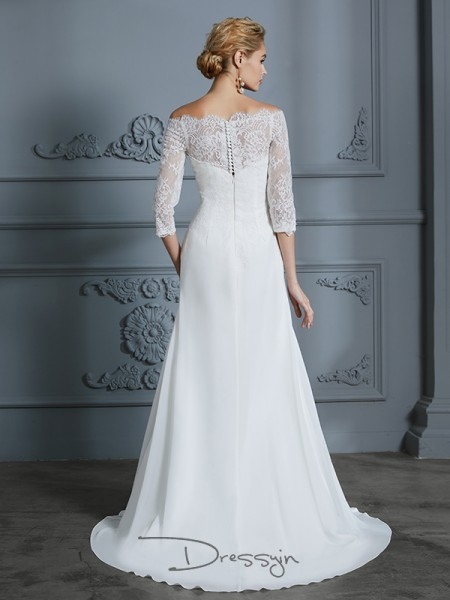 Trumpet/Mermaid Off-the-Shoulder Chiffon 1/2 Sleeves Lace Sweep/Brush Train Wedding Dress