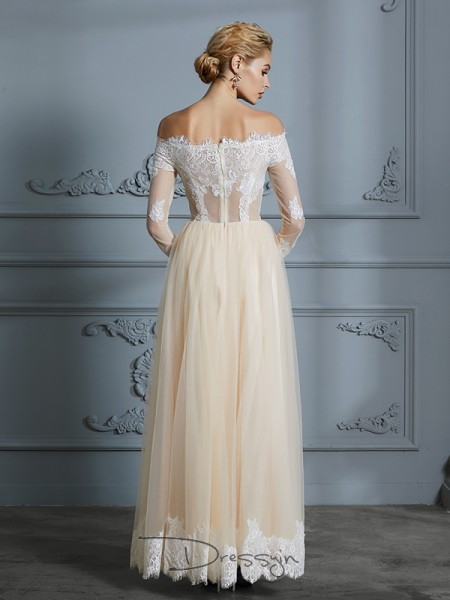 A-Line/Princess Off-the-Shoulder Tulle Long Sleeves Lace Floor-Length Wedding Dress