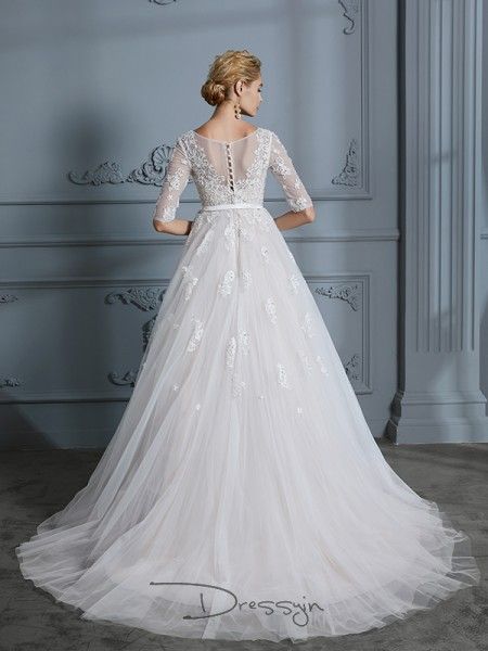 Ball Gown V-neck Tulle 1/2 Sleeves Lace Court Train Wedding Dress