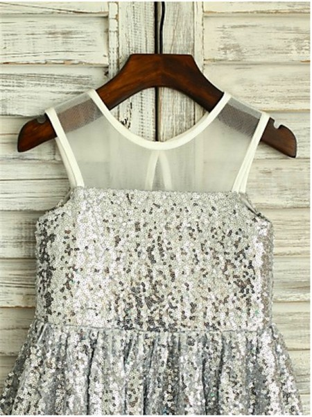 A-Line/Princess Tea-Length Sequin Scoop Sleeveless Sequins Flower Girl Dress