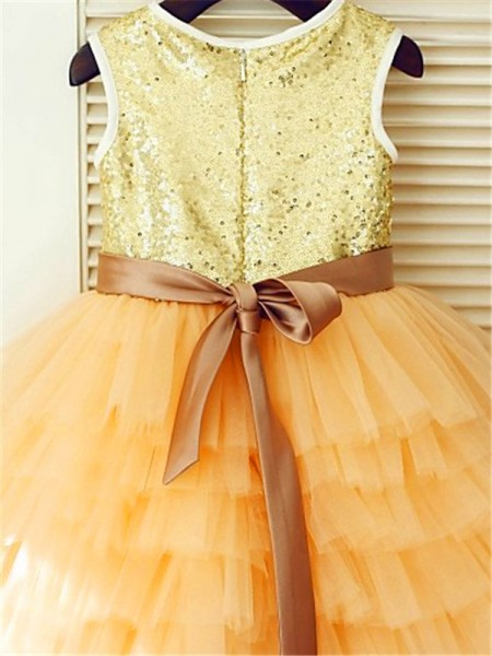 A-Line/Princess Tea-Length Sequin Scoop Sleeveless Tulle Flower Girl Dress