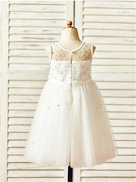 A-Line/Princess Tea-Length Hand-Made Flower Scoop Sleeveless Tulle Flower Girl Dress
