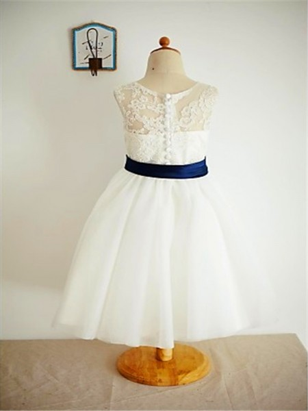 A-Line/Princess Ankle-Length Lace Scoop Sleeveless Tulle Flower Girl Dress