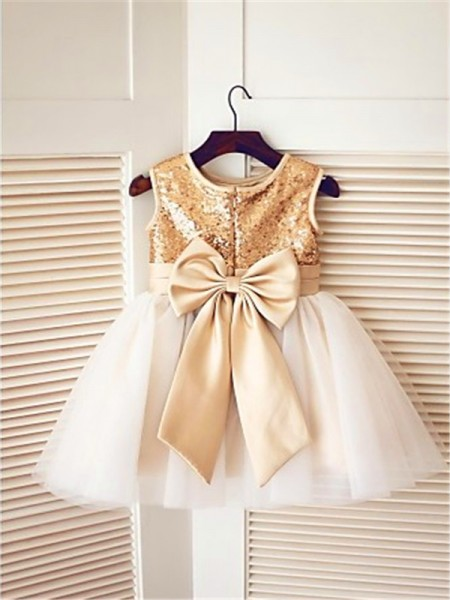 A-line/Princess Sleeveless Scoop Sequin Tea-Length Tulle Flower Girl Dresses