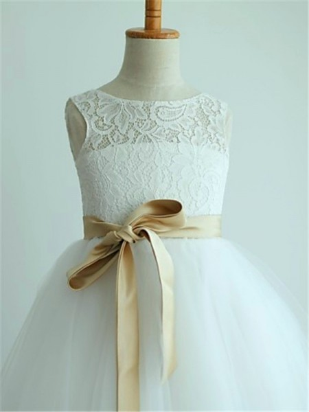 A-Line/Princess Tea-Length Sash/Ribbon/Belt Scoop Sleeveless Tulle Flower Girl Dress