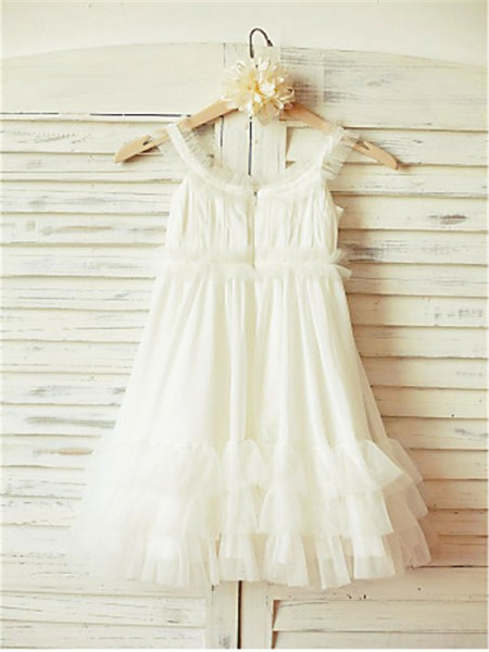 A-Line/Princess Tea-Length Ruffles Straps Sleeveless Chiffon Flower Girl Dress