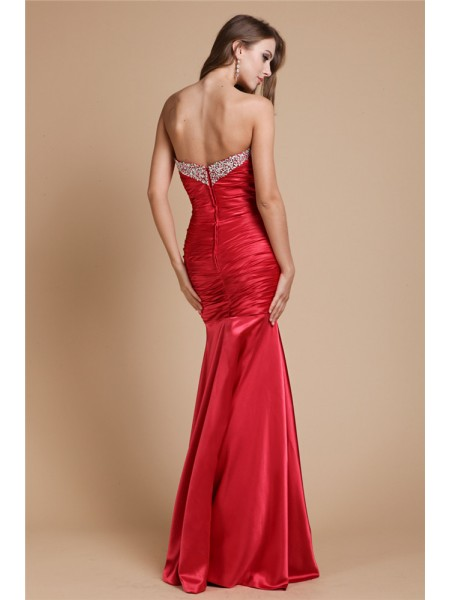 Trumpet/Mermaid Beading Sweetheart Floor-Length Sleeveless Elastic Woven Satin Dresses