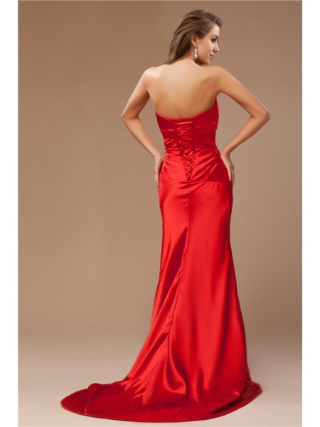 Trumpet/Mermaid Beading Strapless Sweep/Brush Train Sleeveless Taffeta Dresses