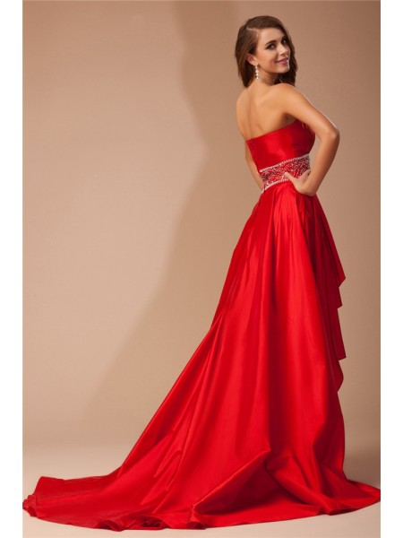 A-Line/Princess Beading Strapless Asymmetrical Sleeveless Taffeta Dresses