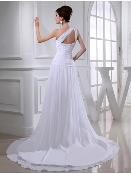 A-Line/Princess Beading Applique One-Shoulder Court Train Sleeveless Chiffon Wedding Dresses