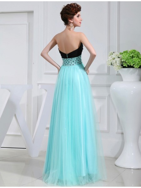 A-Line/Princess Beading Sweetheart Floor-Length Sleeveless Elastic Woven Satin Dresses