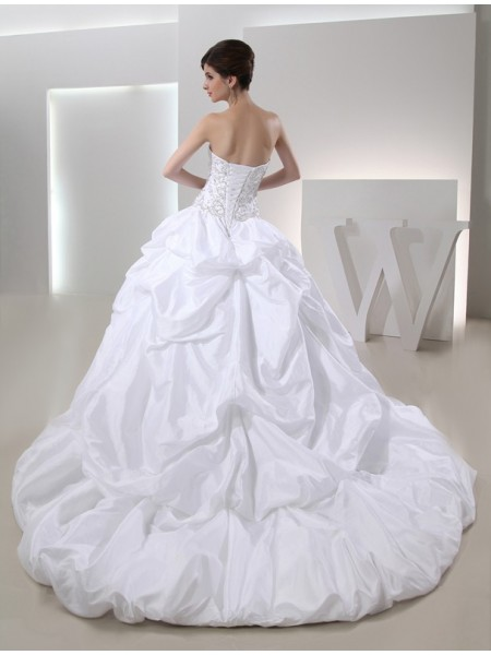 Ball Gown Beading Strapless Cathedral Train Sleeveless Taffeta Wedding Dresses