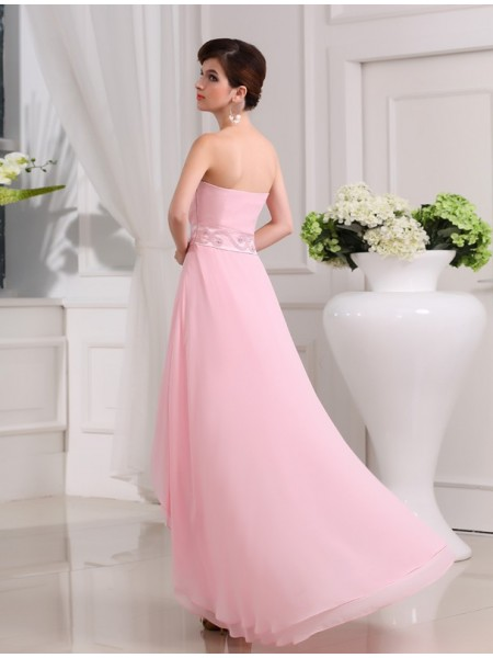 A-Line/Princess Beading Sweetheart Asymmetrical Sleeveless Chiffon Dresses