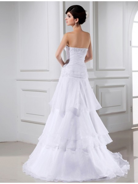 A-Line/Princess Beading Applique Strapless Court Train Sleeveless Organza Wedding Dresses