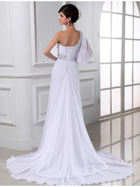 A-Line/Princess Beading One-Shoulder Court Train Sleeveless Chiffon Wedding Dresses