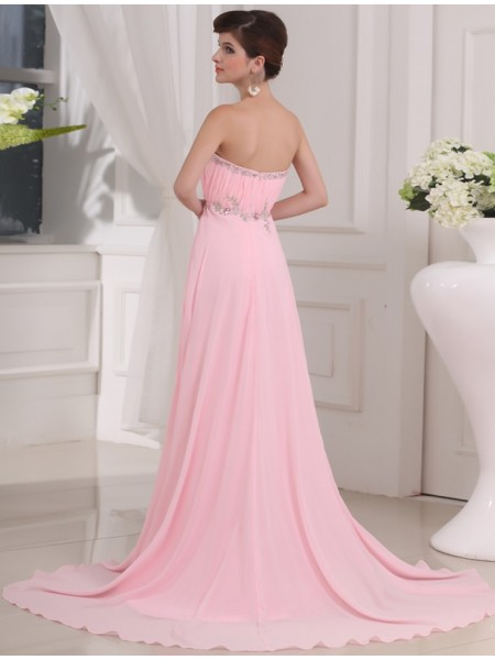 A-Line/Princess Beading Applique Strapless Sweep/Brush Train Sleeveless Chiffon Dresses